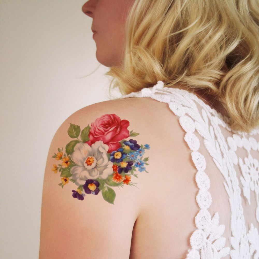 Colorful Round Floral Temporary Tattoo Vintage Floral Tattoo And