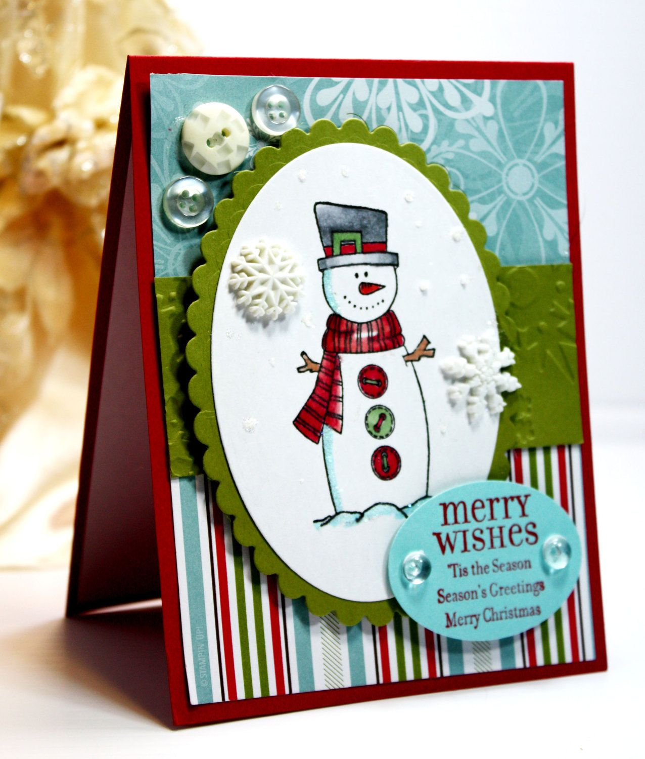 Christmas Card Handmade Card Greeting Card Merry Wishes Tis