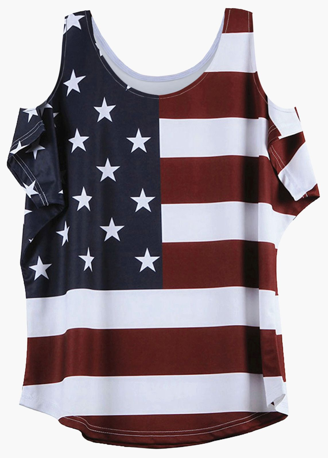 bf87e827d894e8 Distressed American Flag Pattern Cold Shoulder T-Shirt - Wine Red ...