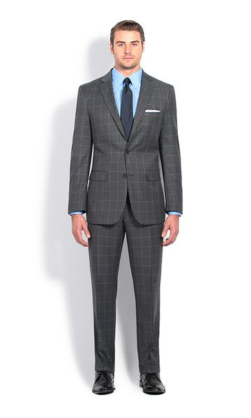 1c26e14e319ac0 Charcoal and White Windowpane Slim Fit Suit. Suits by Combatant Gentlemen  ...