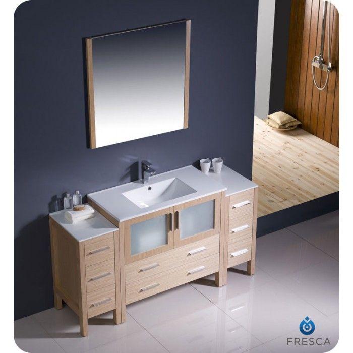 Fresca Torino 60 Light Oak Modern Bathroom Vanity Side Cabinets & Integrated Sink