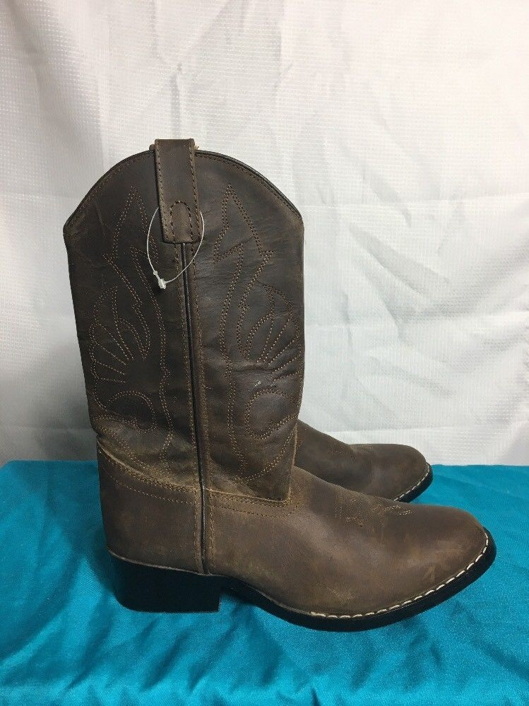 b35df2229e3 Masterson Boot Co. Brown Leather Cowboy Cowgirl Boots Girls Boy NWOT ...