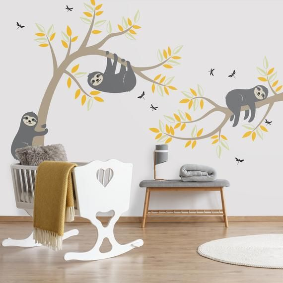 Sloth Wall Decal | Sloth Tree Wall Decal | Sloth Wall Sticker Set | Sloth Wall Decals | Sloth Wall Art | Sloth Stickers for Nursery | 180