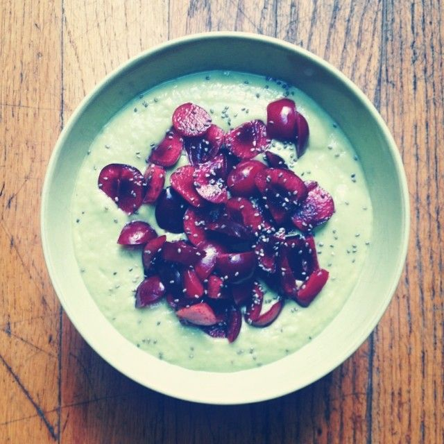 """""""Back From Out of Town Bowl  Bowl: avocado, green apple, spinach, banana, filtered water  Toppings: cherries, chia seeds, childlike enthusiasm"""""""