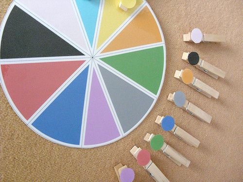 Ok, so this is how to do a color wheel.  Or at least one idea.  I wondered about a color one, but thought coloring on the clothespins would change the color enough that it wouldn't work.