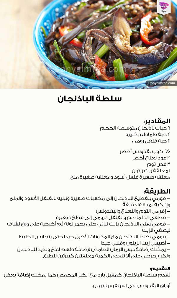 سلطة سلطات باذنجان مقبلات وصفات طعام دنيا امرأة كويت كويتيات كويتي دبي اﻻمارات السعوديه قطر دنيا امرأة Kuwait Doha Dubai Food Arabian Food Beef