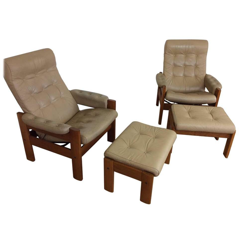Prime Pair Of Midcentury Reclining Chairs With Footstools By Niels Machost Co Dining Chair Design Ideas Machostcouk