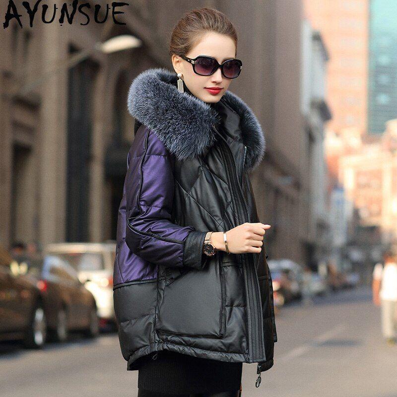 Photo of US $ 285.42 51% OFF | AYUNSUE real leather jacket winter coat women …