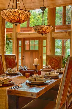 Refined Log Home Rustic Dining Room Other Metro Destree Design Architects Inc Timber House Log Home Interiors Rustic House