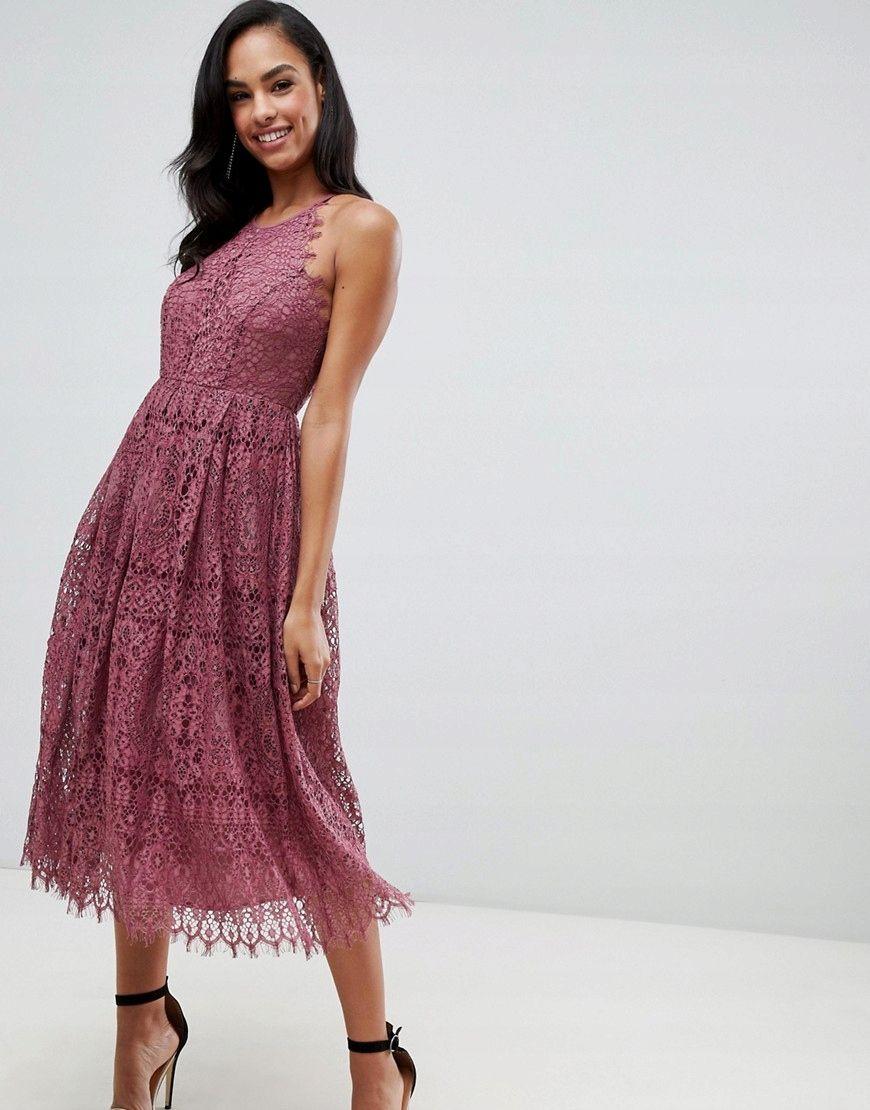 Sukienka Midi Koronkowa Fioletowa Kloszowana S 36 7765798774 Oficjalne Archiwum Allegro Prom Midi Dress Maxi Dress Prom Lace Midi Dress