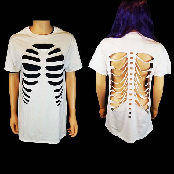 Rib Cage Cutout T Shirt Front and Back / Skeleton Cut Out Shirt #déguisementsdhalloweenfaitsmain