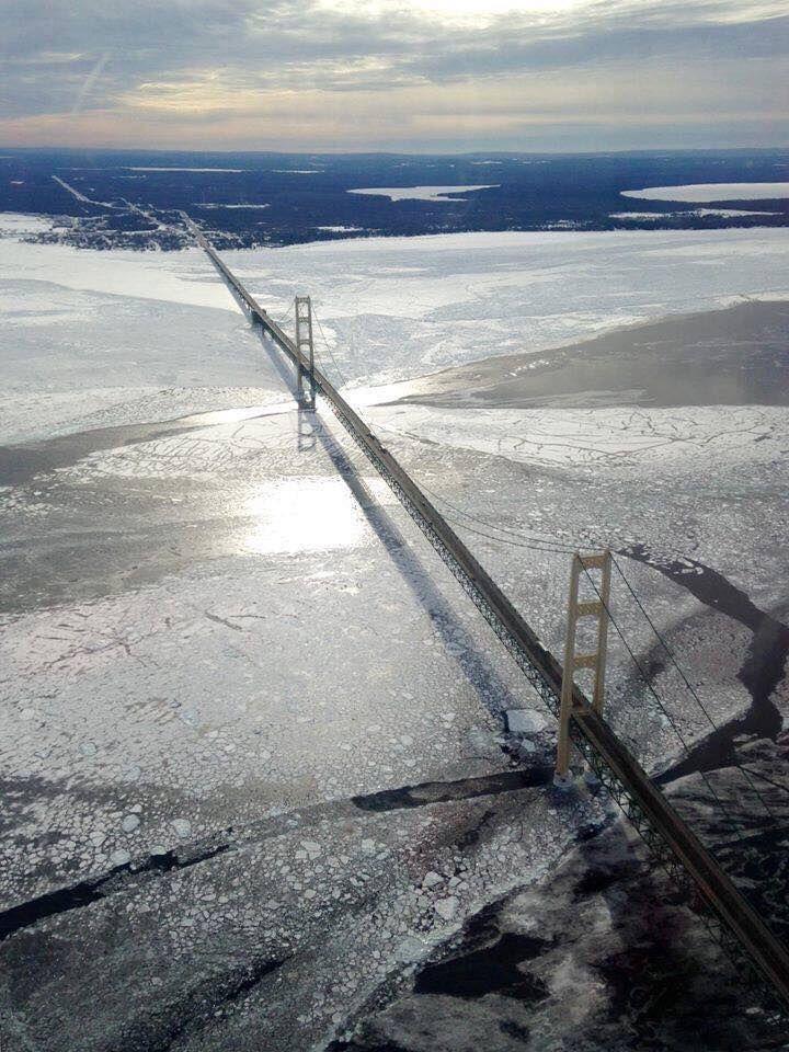 Mackinaw Bridge Michigan winter