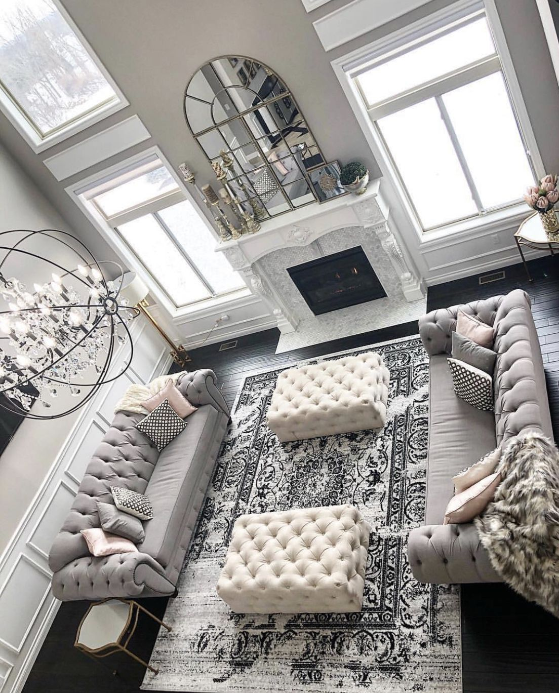 transitional light grey living room decor with grey tufted