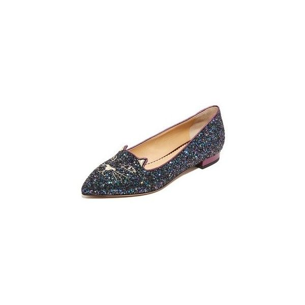 Charlotte Olympia Mid Century Kitty Flats ($560) ❤ liked on Polyvore featuring shoes, flats, leather sole shoes, glitter flats, embroidered flats, metallic flats and embroidered shoes