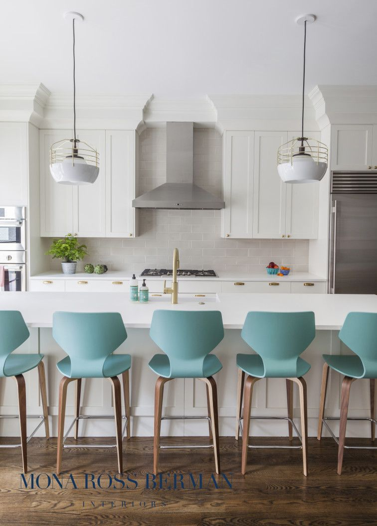 White kitchen with statement teal bar stools | Mona Ross Berman Interiors & White kitchen with statement teal bar stools | Mona Ross Berman ... islam-shia.org
