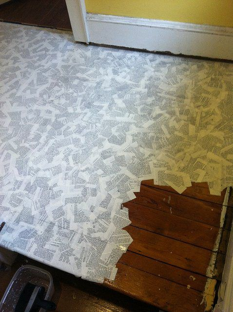 Book Floor1 How To Cover Your Floor With Pages In Paper Diy Books Home Decor Flooring