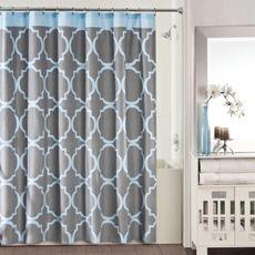 Studio 3b Jay Fret Shower Curtain Grey Blue Blue Bathroom