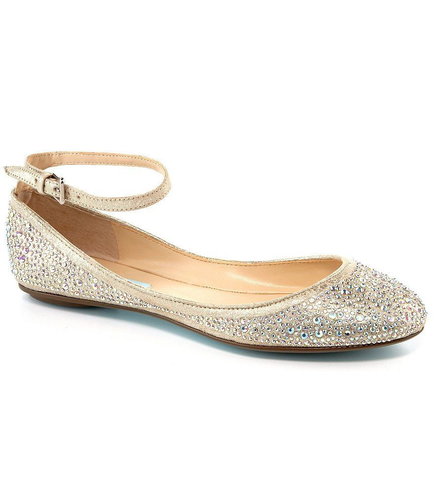 Betsey johnson wedding dresses  Blue by Betsey Johnson Joy Jeweled AnkleStrap Flats  Flats Straps