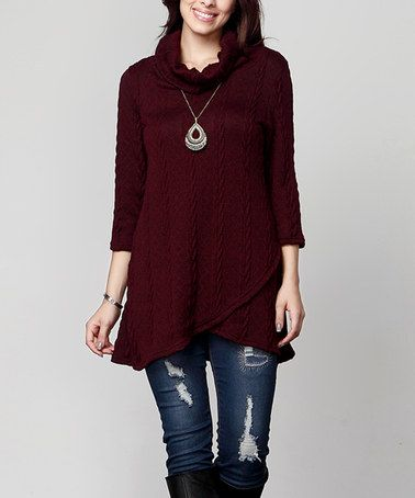 Another great find on #zulily! Burgundy Cable Knit Cowl Neck Asymmetrical Hem Tunic - Plus #zulilyfinds