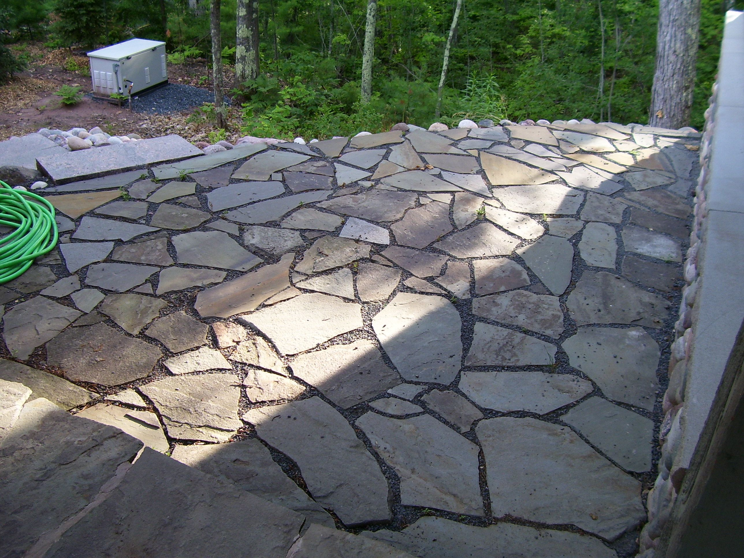 huntinrod project, bayfield, wisconsin side flagstone patio