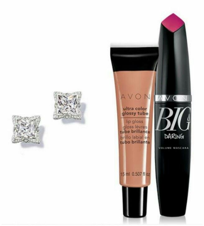 AVON 3pc Bundle. CZ Earrings,  Big Daring Black Mascara and Nude Ultra Color Lip gloss. $16. Modesto/Ceres area.   youravon.com/elenalopez