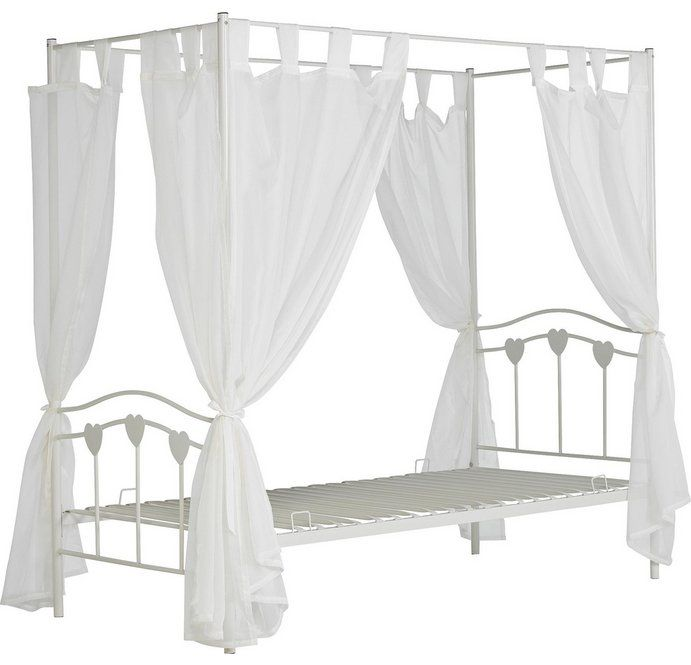 Buy Home Hearts Single Four Poster Bed Frame White At Argos Co Uk