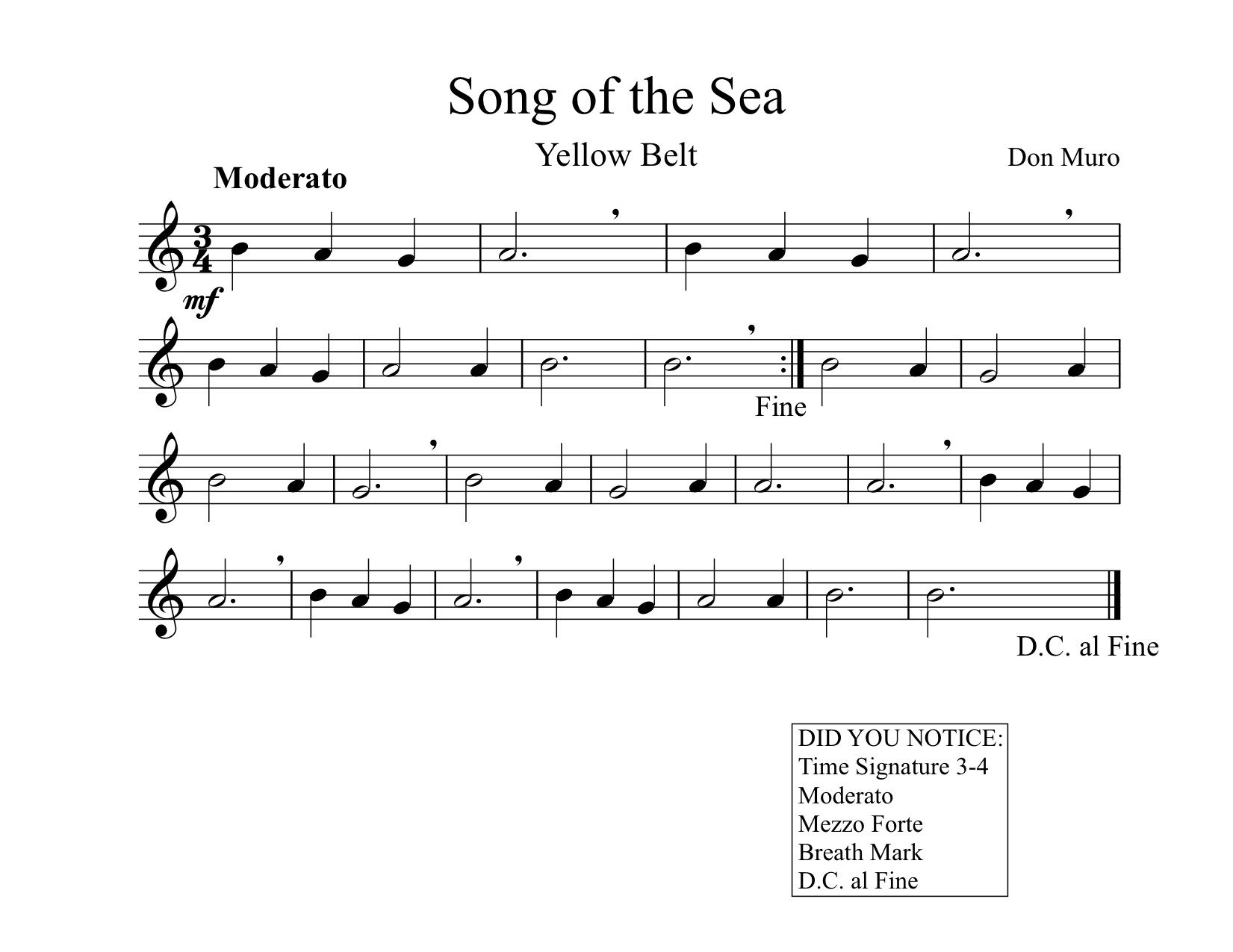 7 FREE Printable Songs for Fourth Grade Recorder Karate Music ...