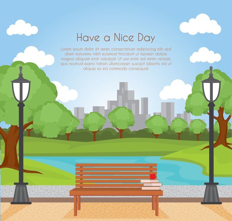 City Park Benches And Scenery Vector Material Cloud Park