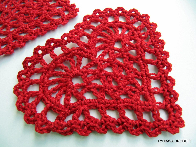 Crochet Heart PATTERN, Crochet Coaster Pattern Heart With Ribbon ...