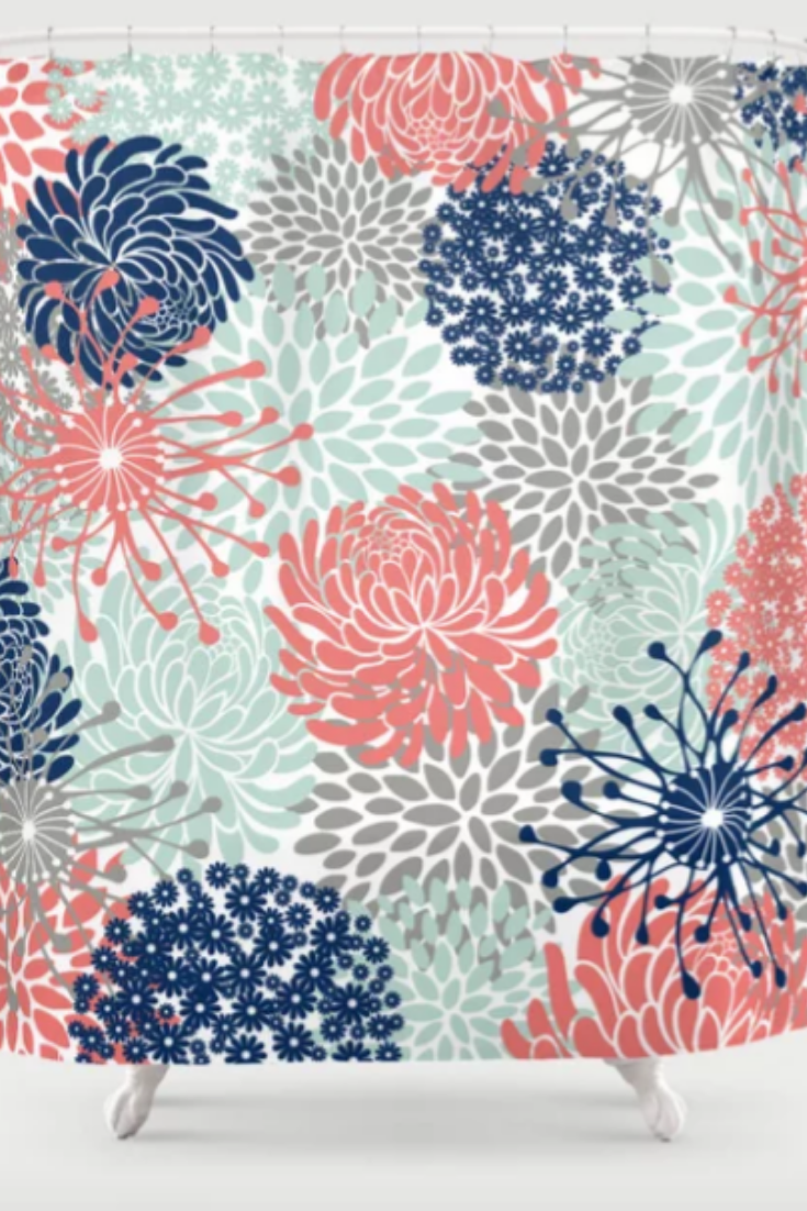 Pretty Bathroom Ideas Floral Print Coral Pink Pale Aqua Blue Gray Navy Shower Curtain Pretty Bathrooms Blue Bathroom Decor Pink Bathroom Decor