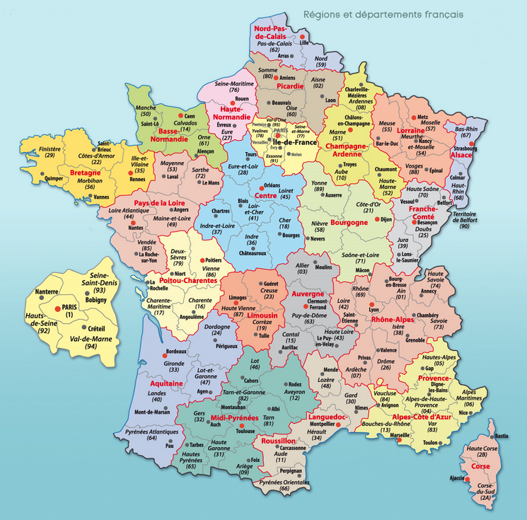 Carte De France Par Region Et Ville | imvt