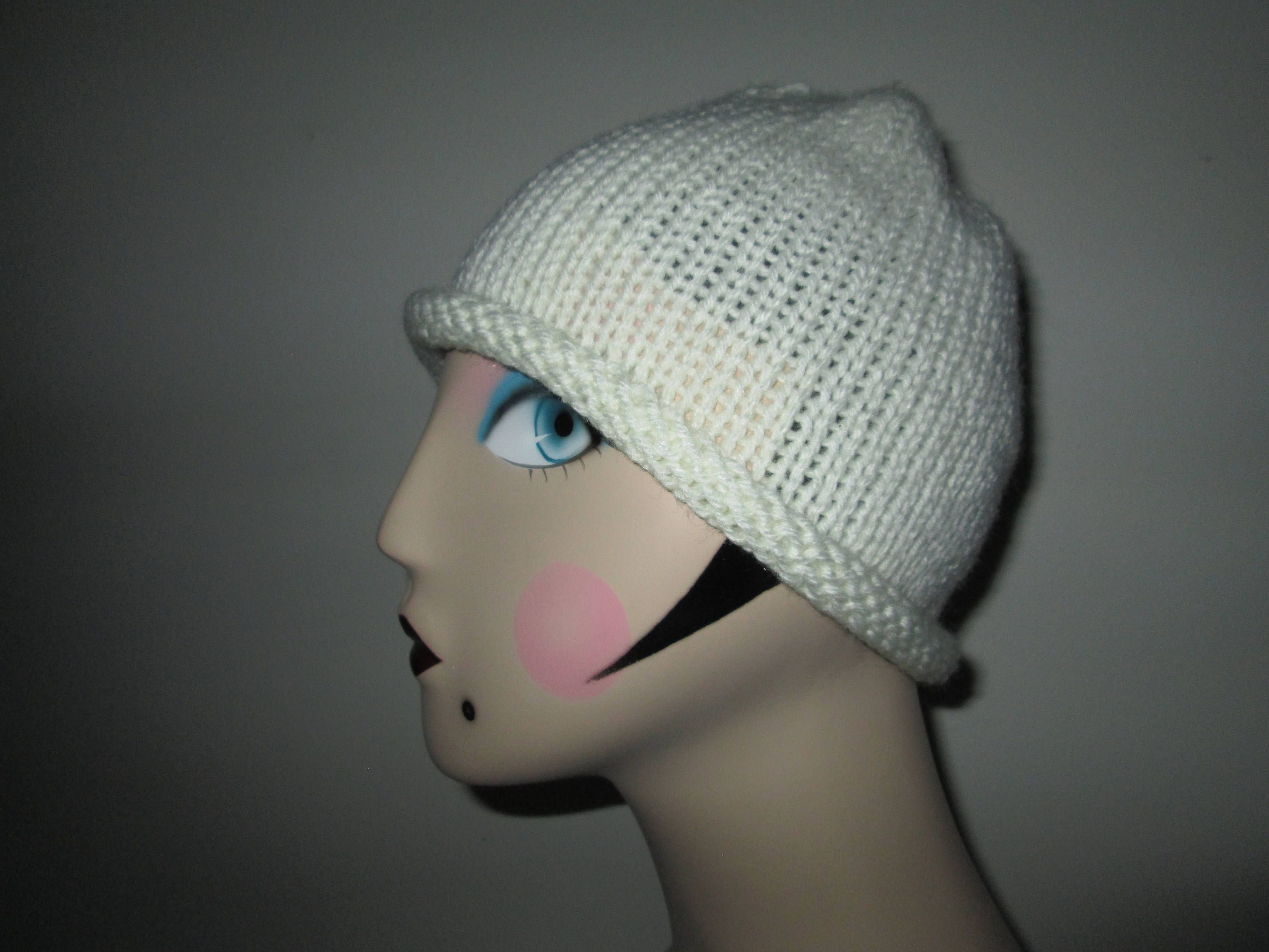Womens Acrylic Creamy Skull Cap Knitted By Suzannesstitches Teen Beanie Hat Cream Color Beanie Girls Knitted Beanie Hat Childrens Beanie By