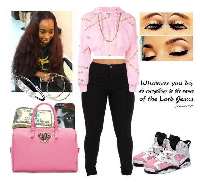 """prettynpink4"" by keonnabrownoffical on Polyvore featuring Moschino, Retrò and Versace"
