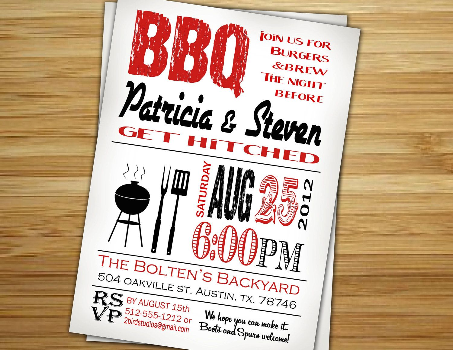 Rehearsal dinner barbecue invitation Couples Bridal