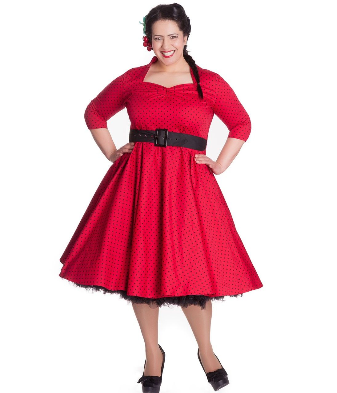 red swing dress plus size 1950s style black white sleeved diana swing dress plus