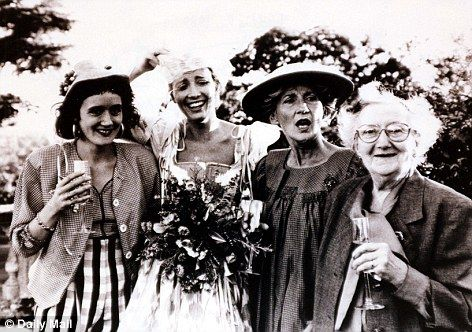 Family insight: Phyllida Law, second from right, with her mother Meg and her actress daughters Sophie Thompson (Persuasion, HP 7.1), far left, and Emma Thompson at her wedding to Kenneth Brannaugh