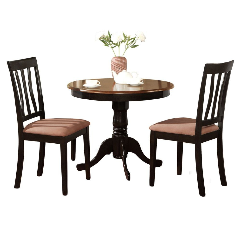 Black Round Kitchen Table Plus 2 Dining Room Chairs 3Piece Dining Inspiration Three Piece Dining Room Set Decorating Design