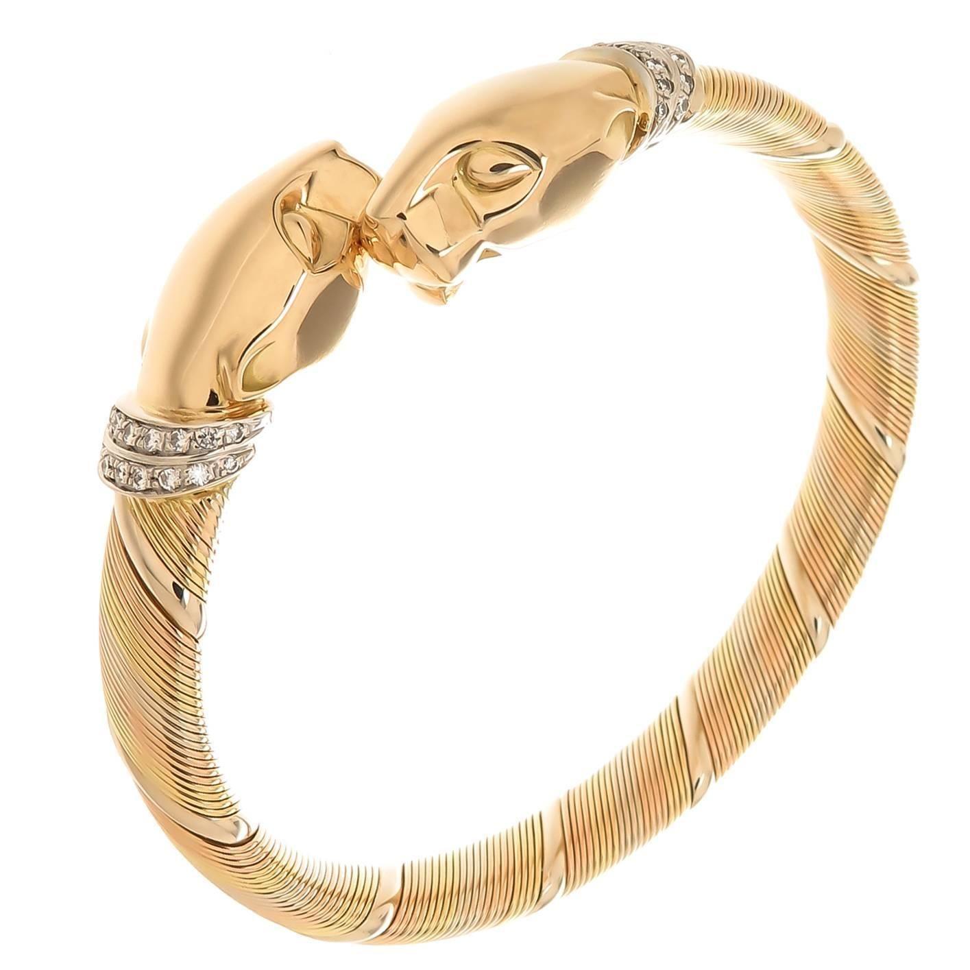 Cartier Diamond Tri Color Gold Panther Bracelet Cartier