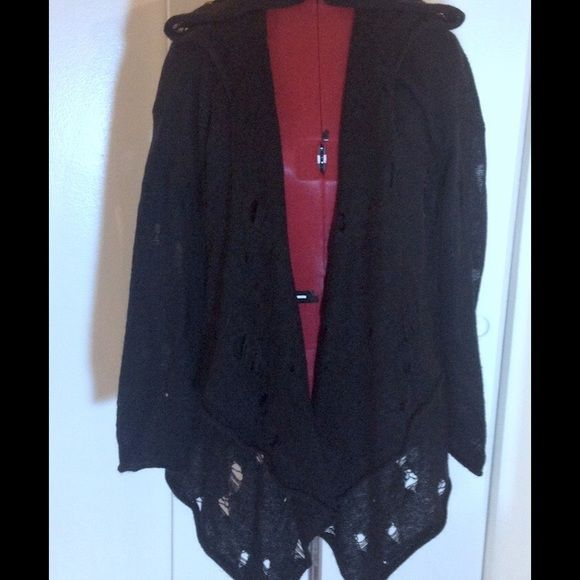 H&M black hooded gothic cardigan sweater H&M Divided grey label ...