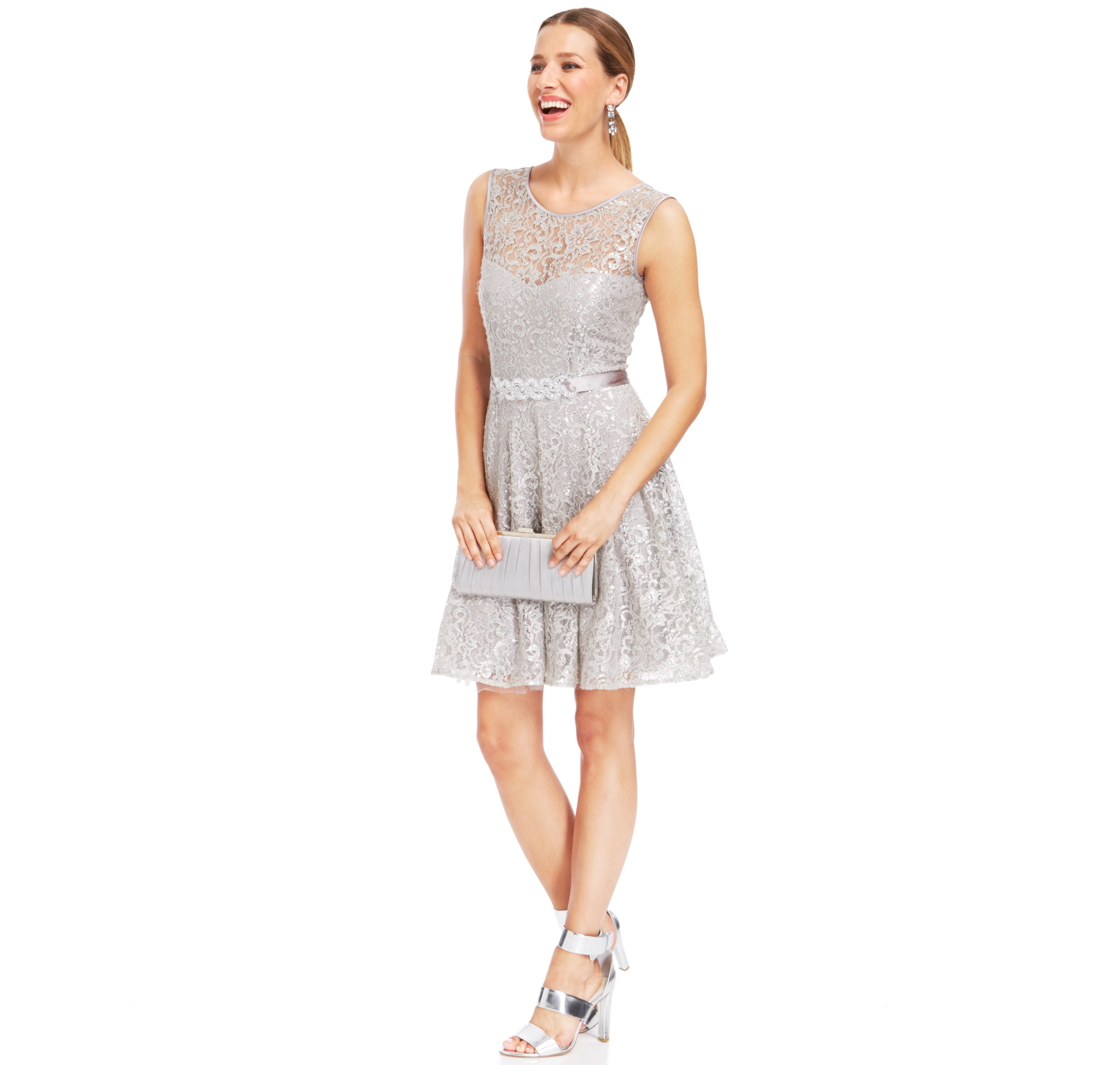 Betsy u adam petite illusion foiled lace belted dress products