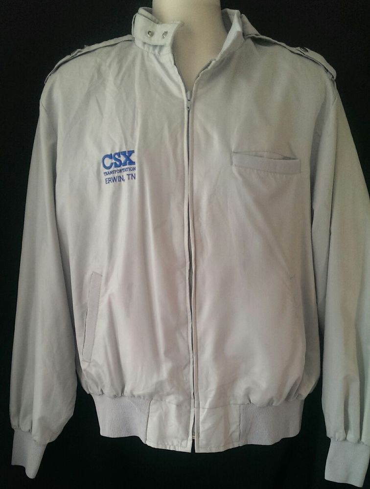 CSX Transportation Light Coat Jacket Windbreaker XL Erwin TN Gray Zip up Train #SportsMaster #BasicJacket