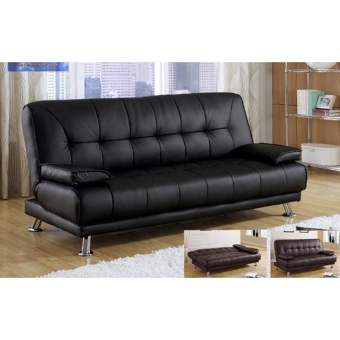 Modern Black Bycast Leather Arm Futon Sofa Bed Sleeper