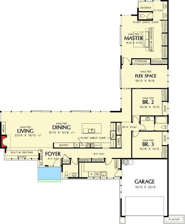 L Shaped House Plans With Courtyard Unique Two Story L Shaped House Plans New C Shaped House Plan Plantas De Casas Projetos De Casas Terreas Projectos De Casas
