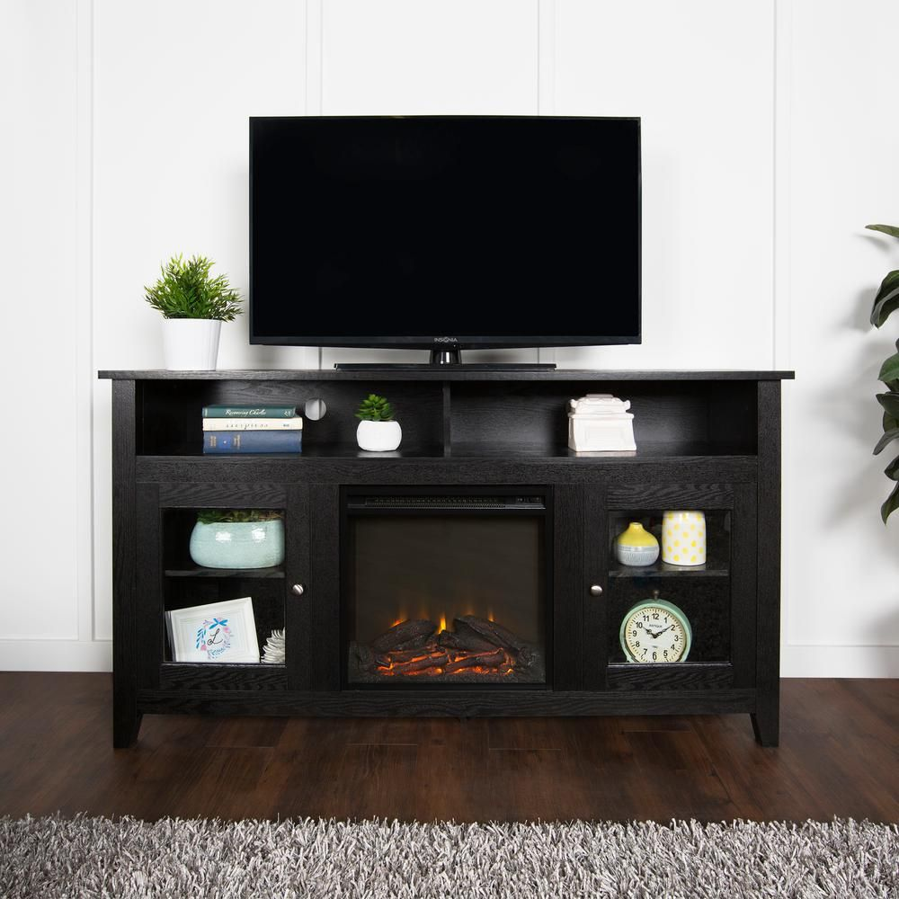 in highboy wood fireplace tv stand in black products