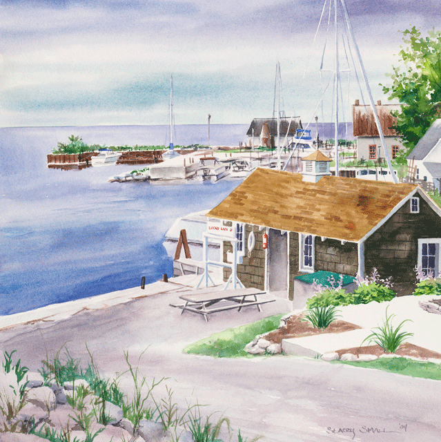 Gill S Rock Reproduction Of A Watercolor By Stacey Small Rupp Print Artist Beautiful Doors Door County Wi
