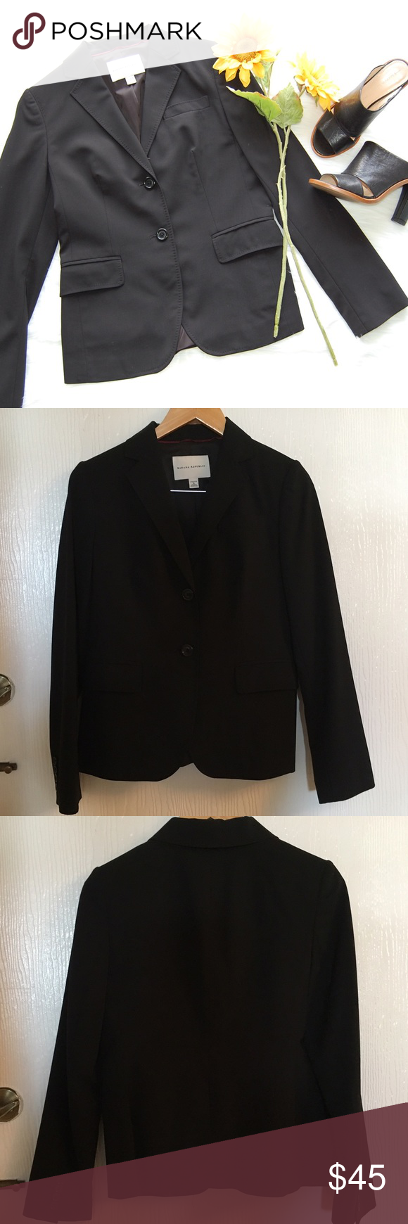 BANANA REPUBLIC Blazer Black blazer with two button closure and two front pockets. Has stretch. Shell is wool/spandex blend, blush lining is 100% polyester. Sleeve lining is polyester/elastane blend. Some fading at top of collar but you can't tell when it's on. MATCHING PANTS IN OTHER LISTING.   Blog: bringingupsuns.com Instagram: @bringingupsuns Banana Republic Jackets & Coats Blazers