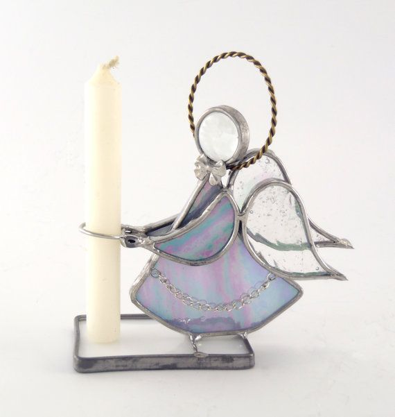 Stained Glass Angel Candle Holder Purple by Nostalgianmore on Etsy, $35.00: