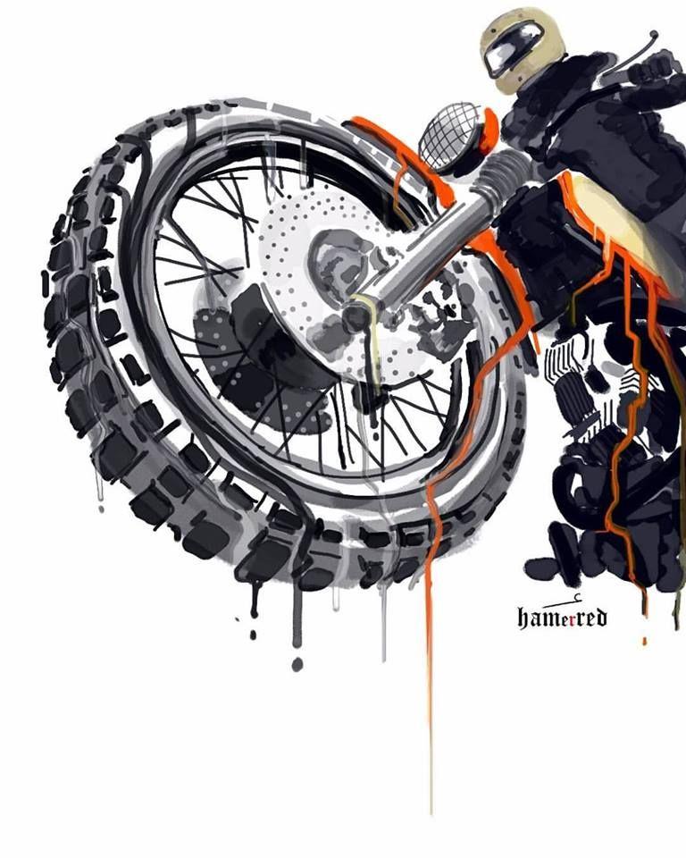 Hamerred 8negro Arte De Motocicletas Arte Bicicleta Motos Dibujos