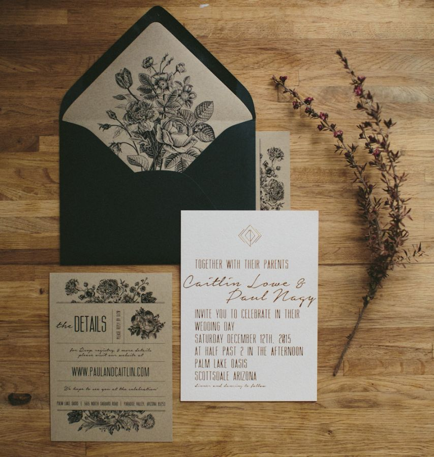 black white kraft paper and gold wedding invitation rustic with a