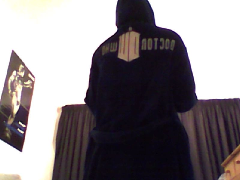 The back of my tardis dressing gown (and yes that is a cyberman ...